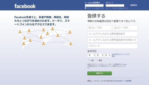 キャプチャー、Facebook登録画面